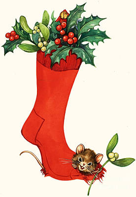 Painting - Mouse In A Christmas Sock by English School