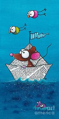 Sea Birds Painting - Mouse In His Paper Boat by Lucia Stewart