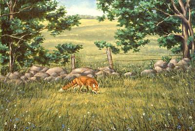 Farm Fields Painting - Mouse Patrol by Richard De Wolfe