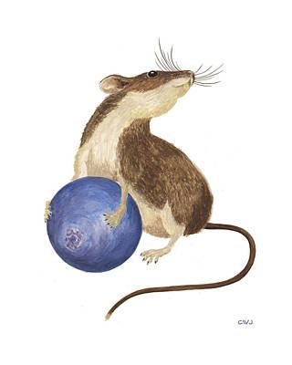 Painting - Mouse's Blueberry by Cynda Warren Joyce