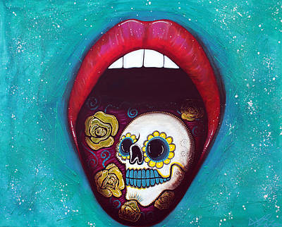 Pop Surrealism Painting - Mouth Full Of Sugar Skull by Laura Barbosa