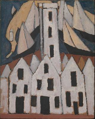 Cardboard Painting - Movement No. 5, Provincetown Houses by Marsden Hartley