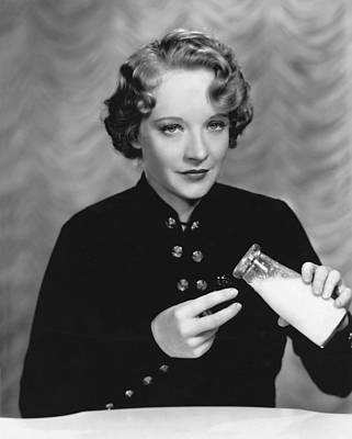 Milk Bottle Photograph - Movie Actress Likes Milk by Otto Dyar