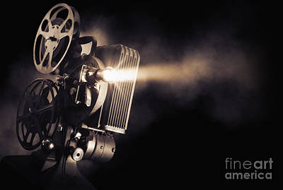 Movie Projector On A Dark Background Art Print