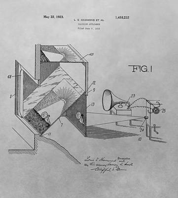 Reel Drawing - Movie Theater Patent Drawing by Dan Sproul