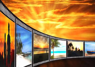 Beach Scenes Digital Art - Movies At Sundown by Georgiana Romanovna