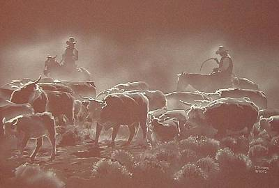 Cattle Drive Mixed Media - Movin Em by Tim  Joyner