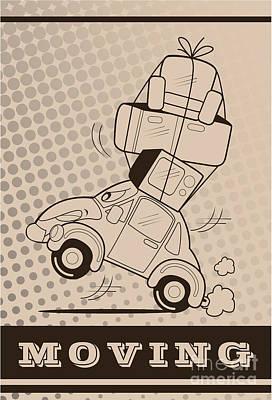 Old Truck Wall Art - Digital Art - Moving Car by Fun Way Illustration