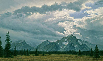 Grand Tetons Wall Art - Painting - Moving Clouds-mount Moran by Paul Krapf