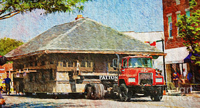 Photograph - Moving The Blue Springs Train Depot Painterly by Andee Design