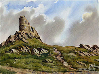 Mow-cop Painting - Mow Cop Castle by Anthony Forster