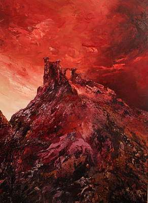Mow-cop Painting - Mow Cop Castle Staffordshire In A Red Glow by Jean Walker