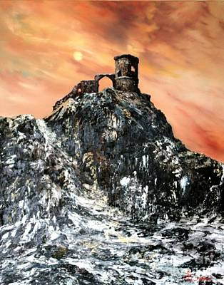 Cop Painting - Mow Cop Castle Staffordshire by Jean Walker