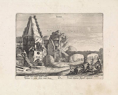 Mowers Resting Near A House, July, Jan Van De Velde II Art Print by Jan Van De Velde (ii)