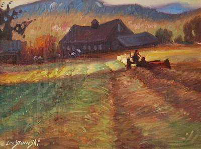 Barn Poster Painting - Mowing by Len Stomski