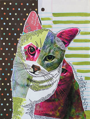 Domesticated Animal Painting - Moxie...abstract Cat Painting by Amy Giacomelli