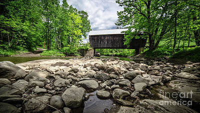 Parc Photograph - Moxley Covered Bridge Chelsea Vermont by Edward Fielding