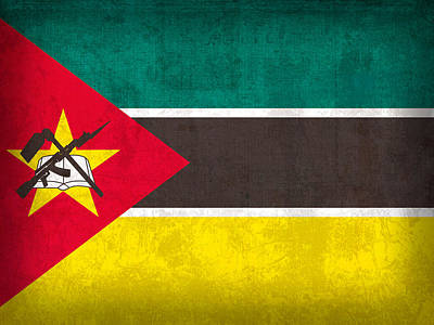 Flag Mixed Media - Mozambique Flag Vintage Distressed Finish by Design Turnpike