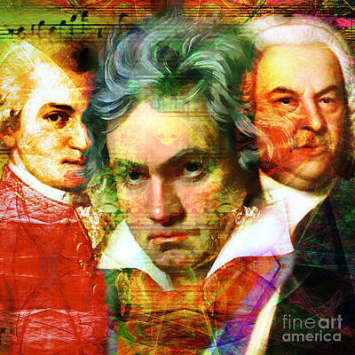 Concert Digital Art - Mozart Beethoven Bach 20140128 Square by Wingsdomain Art and Photography