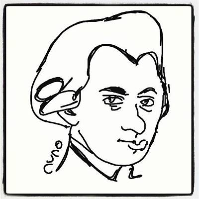Mozart Wall Art - Photograph - #mozartds #cartoon #caricatures #sketch by Nuno Marques