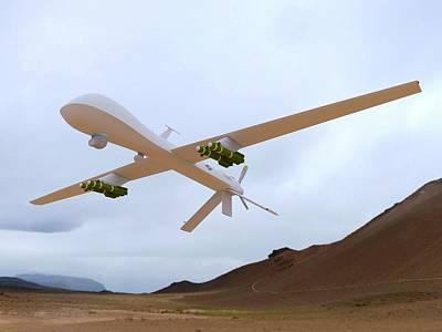 Mq-1 Predator Spyplane Art Print by Alfred Pasieka