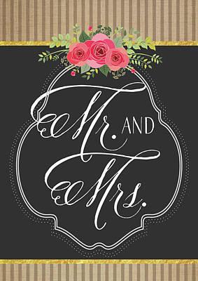 Wedding Painting - Mr. & Mrs. Chalkboard by Tammy Apple