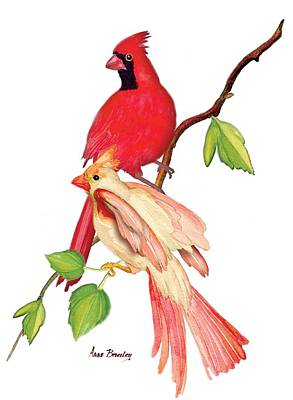 Painting - Mr. And Mrs. Cardinal by Anne Beverley-Stamps