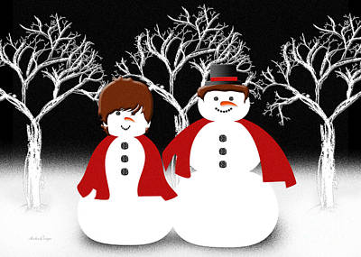Digital Art - Mr And Mrs Snow 1 by Andee Design