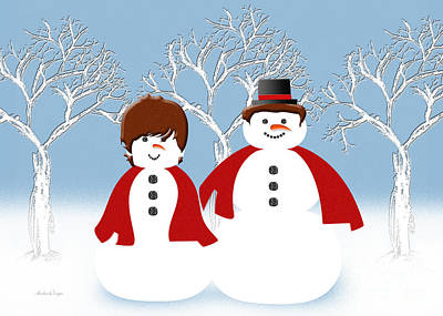 Digital Art - Mr And Mrs Snow 2 by Andee Design