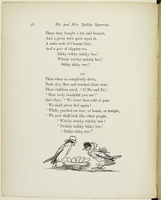 Verse Photograph - Mr And Mrs Sparrow With Baby Sparrows by British Library