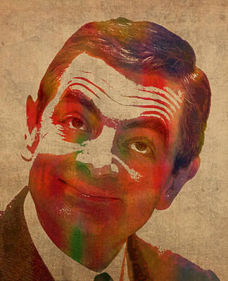 Wall Art - Mixed Media - Mr Bean Rowan Atkinson Watercolor Portrait On Worn Distressed Canvas by Design Turnpike