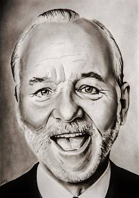 Golf Drawing - Mr Bill Murray by Brian Broadway