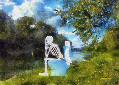 Mr Bones Fishing Photo Art 01 Art Print