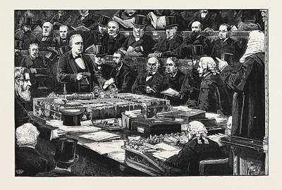 Taking Oath Drawing - Mr. Bradlaugh Taking The Oath In The House Of Commons by English School