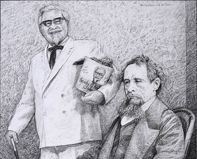 Drawing - Mr Chicken And Mr Dickens by James W Johnson