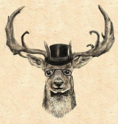 Hip Drawing - Mr Deer by Anna Shell