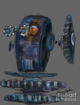Digital Art - Mr. Gears Digital Sketch by Simon Drohen