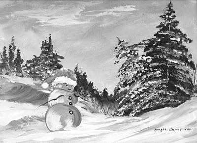 Snowscape Painting - Mr. Happy Snowman by Ginger Lovellette