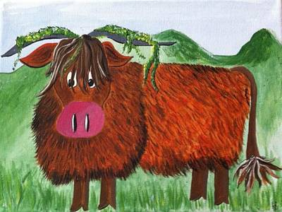 Landscape Painting - Mr Highland Cow 2 by Kathy Spall