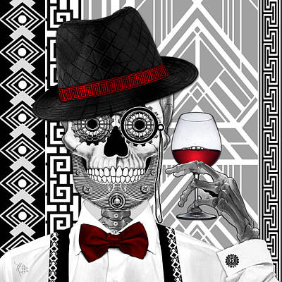 Deco Digital Art - Mr. J.d. Vanderbone - Day Of The Dead 1920's Sugar Skull - Copyrighted by Christopher Beikmann