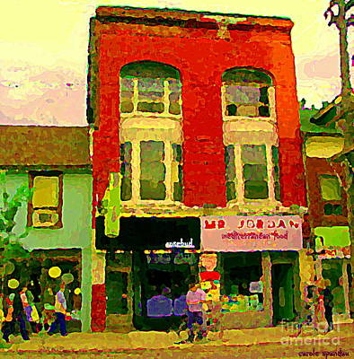 Painting - Mr Jordan Mediterranean Food Cafe Cabbagetown Restaurants Toronto Street Scene Paintings C Spandau by Carole Spandau