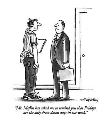 Business Men Drawing - Mr. Meflin Has Asked Me To Remind You That by Henry Martin