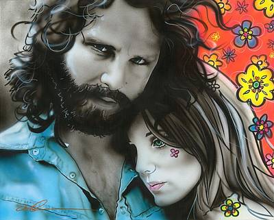 Flower Power Painting - Jim Morrison - ' Mr Mojo Risin And Pam ' by Christian Chapman Art