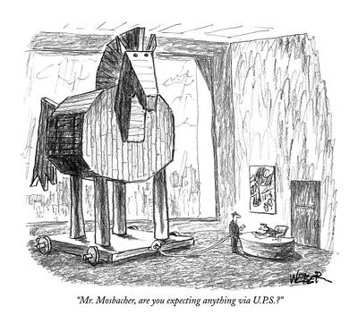 Expecting Drawing - Mr. Mosbacher by Robert Weber