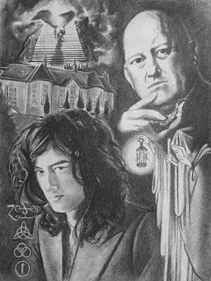 Led Zeppelin Drawing - Mr. Page And Mr. Crowley by Amber Stanford