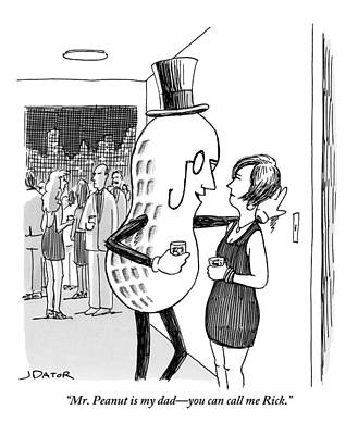 Dad Drawing - Mr. Peanut Tries To Pick Up A Woman At A Cocktail by Joe Dator