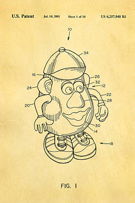 Potato Photograph - Mr Potato Head Patent Art 2001 by Ian Monk