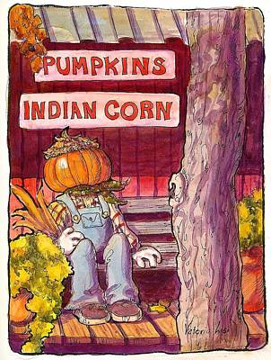 Pen And Ink Of Barn Painting - Mr. Pumpkin by Victoria Lisi