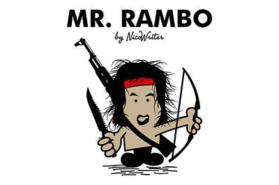 Mr Men Digital Art - Mr Rambo by NicoWriter