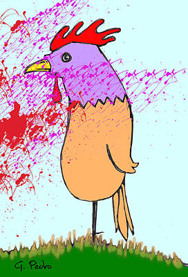 Digital Art - Mr. Rooster Is Witness To A Horrific Garden Accident by George Pedro
